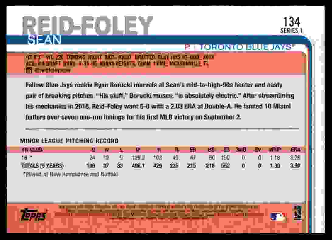 2019 Topps Sean Reid-Foley #134 card back image