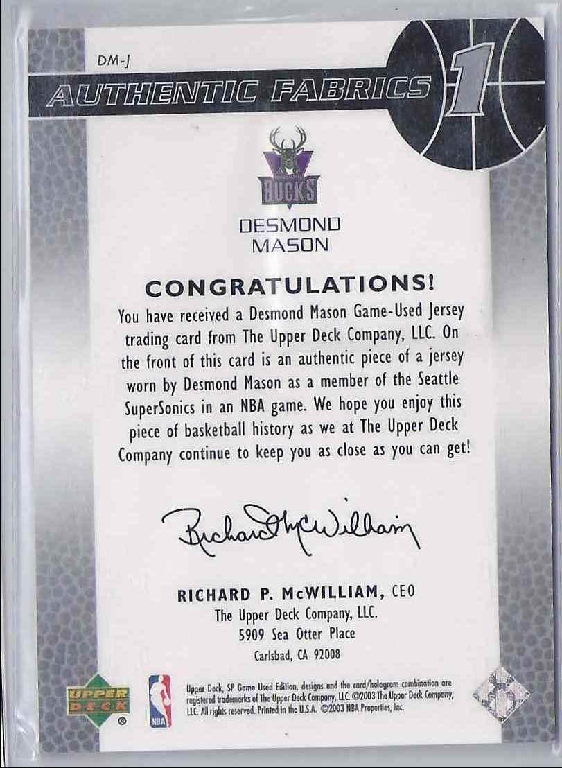 2003-04 SP Game Used Authentic Fabrics Desmond Mason #DMJ card back image
