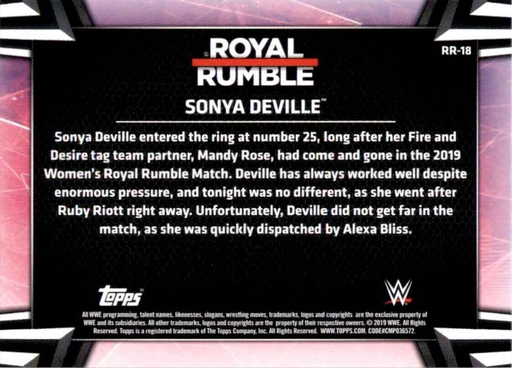 2019 Topps Wwe Women's Division Women's Royal Rumble Sonya Deville #RR18 card back image