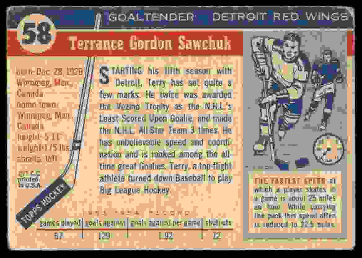 1954-55 Topps Terry Sawchuk #58 card back image
