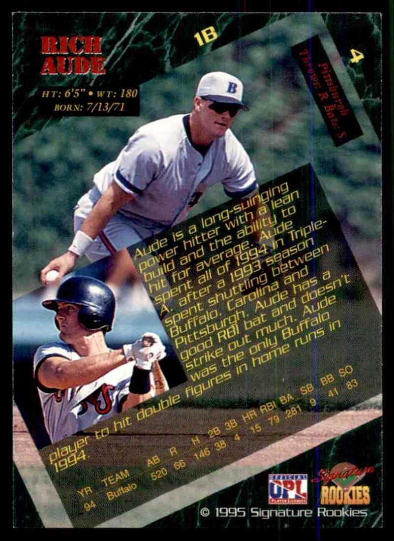 1995 Signature Rookies Rich Aude #4 card back image