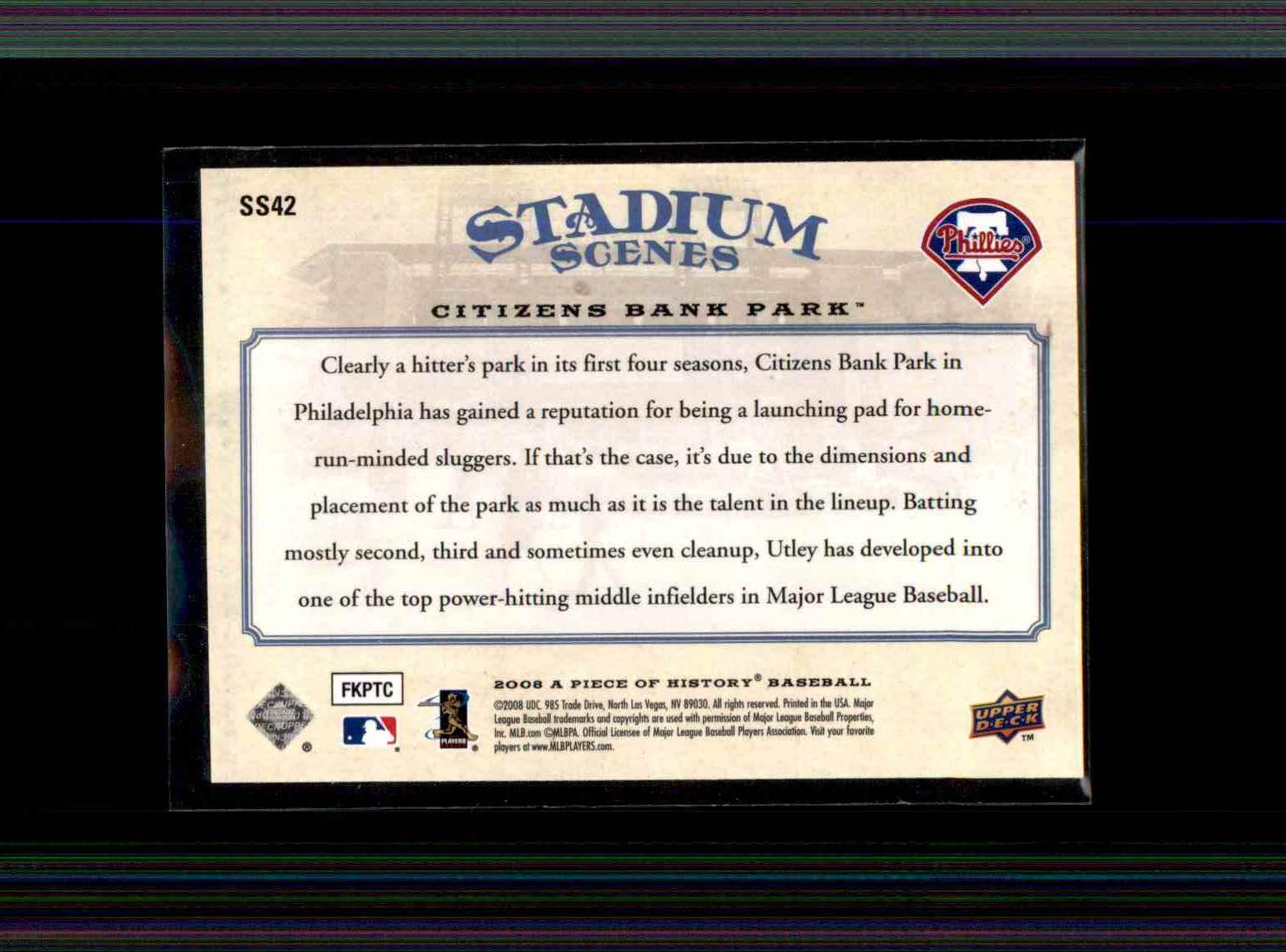 2008 Upper Deck A Piece Of History Stadium Scenes Blue Chase Utley #SS42 card back image