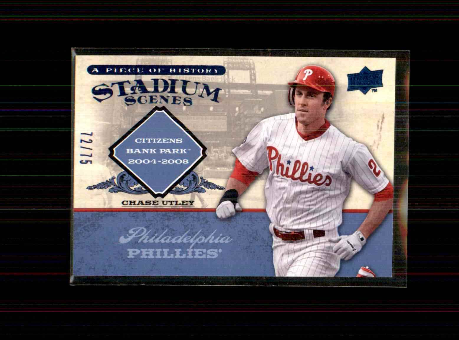 2008 Upper Deck A Piece Of History Stadium Scenes Blue Chase Utley #SS42 card front image