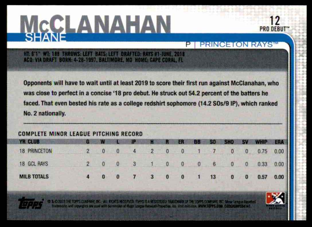 2019 Topps Pro Debut Shane McClanahan #12 card back image
