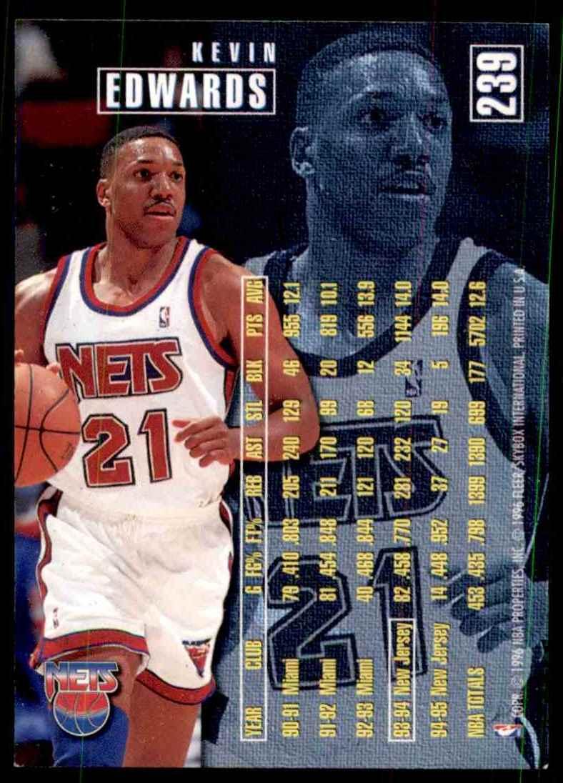 1995-96 Fleer Kevin Edwards #239 card back image