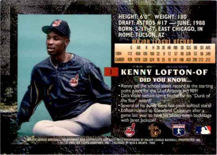 1995 Topps Embossed Kenny Lofton #1 card back image