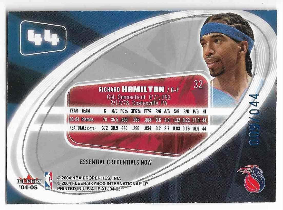 2004-05 E-XL Essential Credentials Now Richard Hamilton #44 card back image