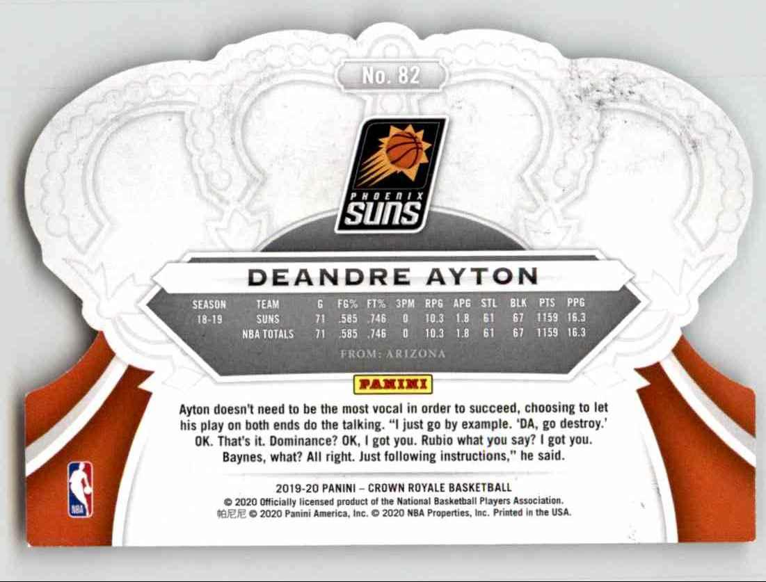 2019-20 Crown Royale Deandre Ayton #82 card back image