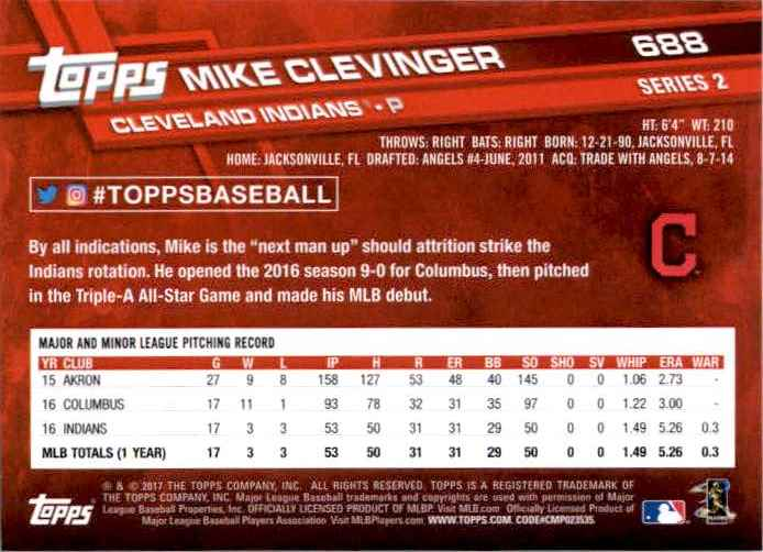 2017 Topps Series 2 Mike Clevinger #688 card back image