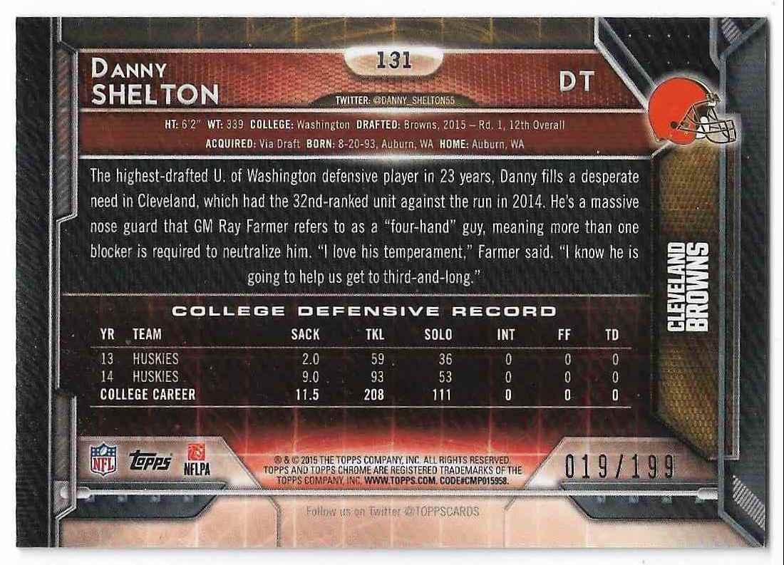 2015 Topps Chrome Danny Shelton #131 card back image