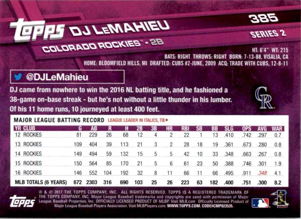 2017 Topps Series 2 DJ LeMahieu #385 card back image