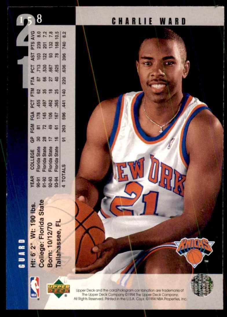 1994-95 Upper Deck Charlie Ward RC #158 card back image