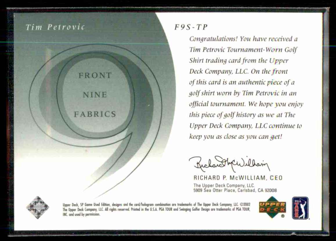 2002 SP Game Used Front 9 Fabric Tim Petrovic #TP card back image