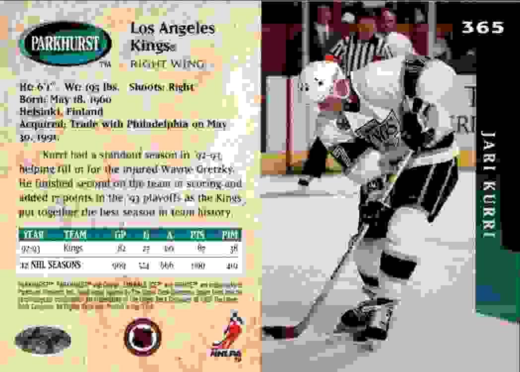 1993-94 Parkhurst Emerald Ice Jari Kurri #365 card back image