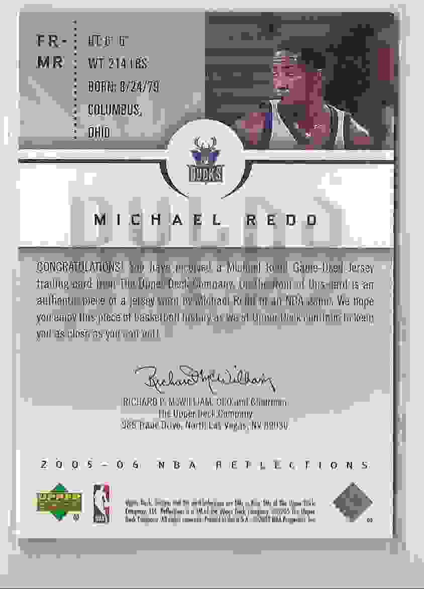 2005-06 Reflections Fabrics Michael Redd #MR card back image