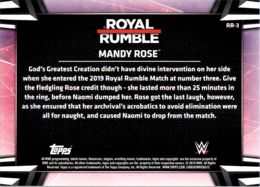 2019 Topps Wwe Women's Division Women's Royal Rumble Mandy Rose #RR3 card back image