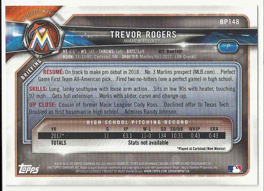2018 Bowman Prospects Trevor Rogers #BP-148 card back image