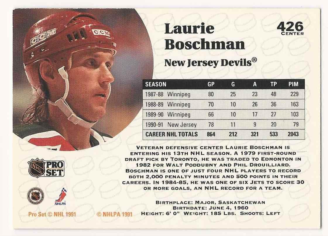 1991-92 Pro Set Laurie Boschman #426 card back image