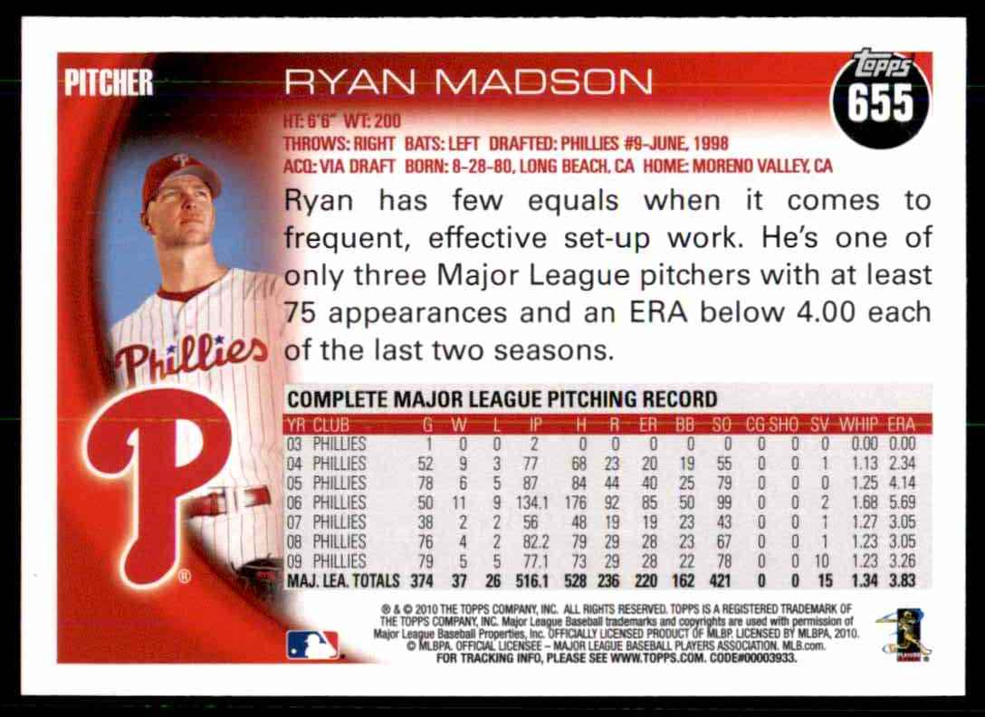 2010 Topps Ryan Madson #655 card back image