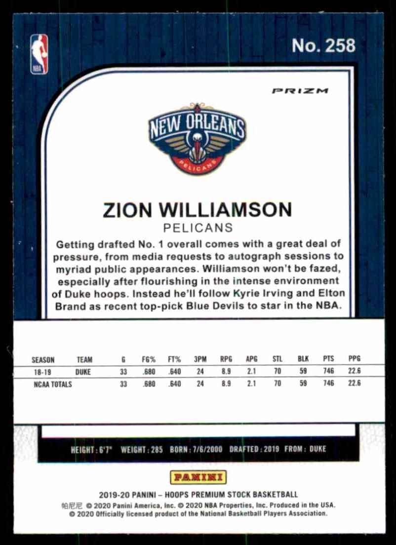 2019-20 Hoops Premium Stock Prizms Purple Disco Zion Williamson #258 card back image