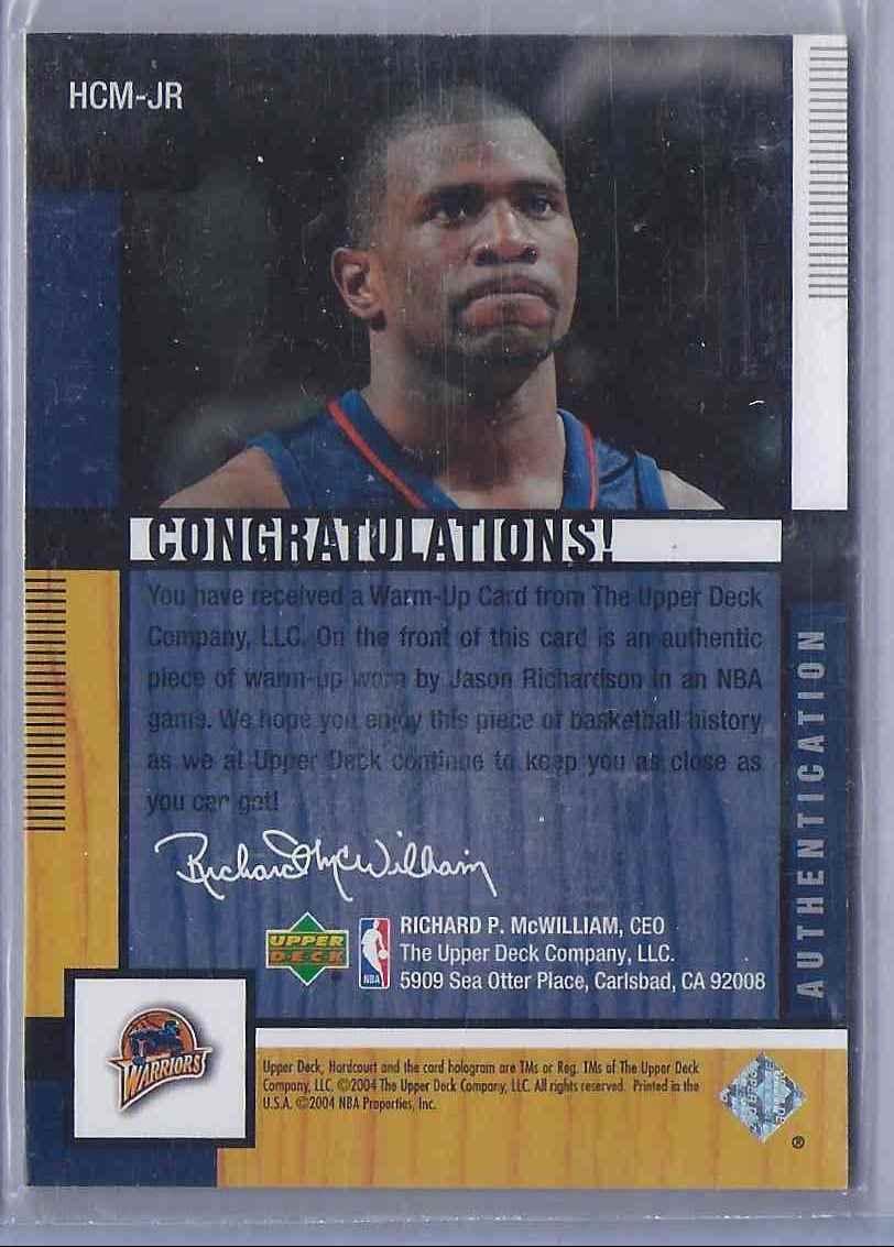 2004-05 Upper Deck Hardcourt Materials Combo Jason Richardson #JR card back image