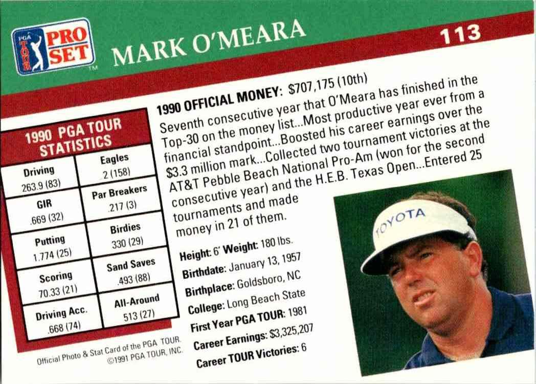 1991 Pro Set Mark O'Meara #113 card back image