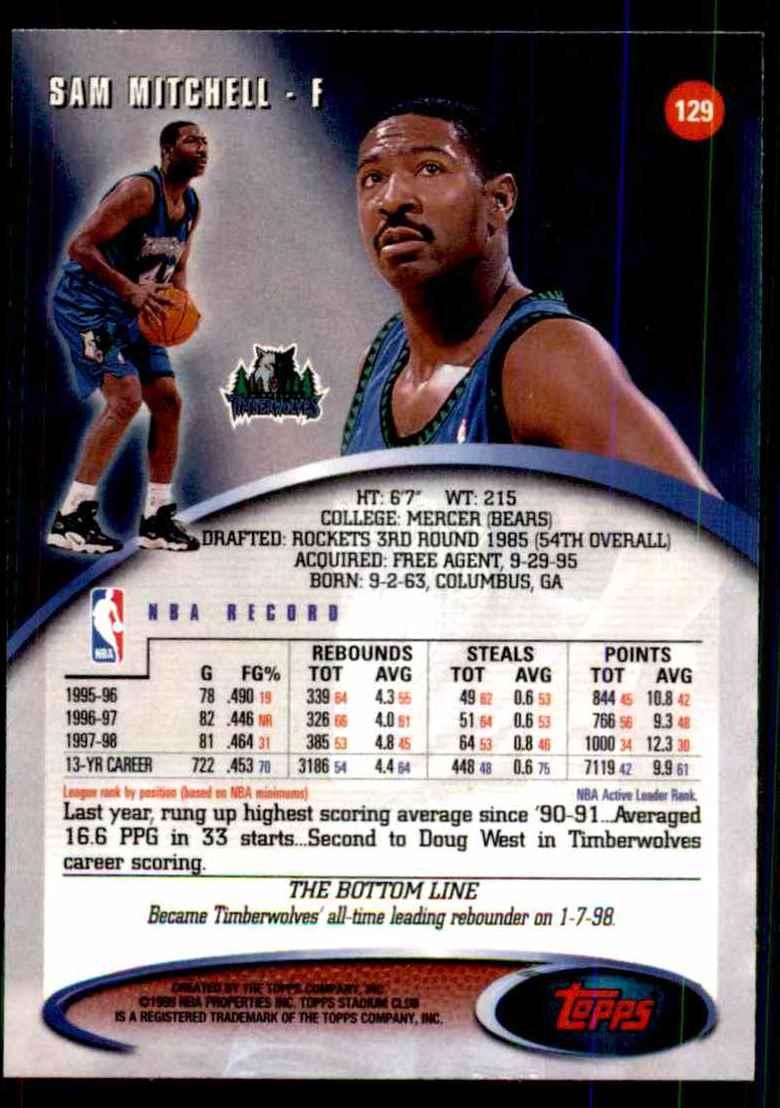 1998-99 Stadium Club Sam Mitchell #129 card back image