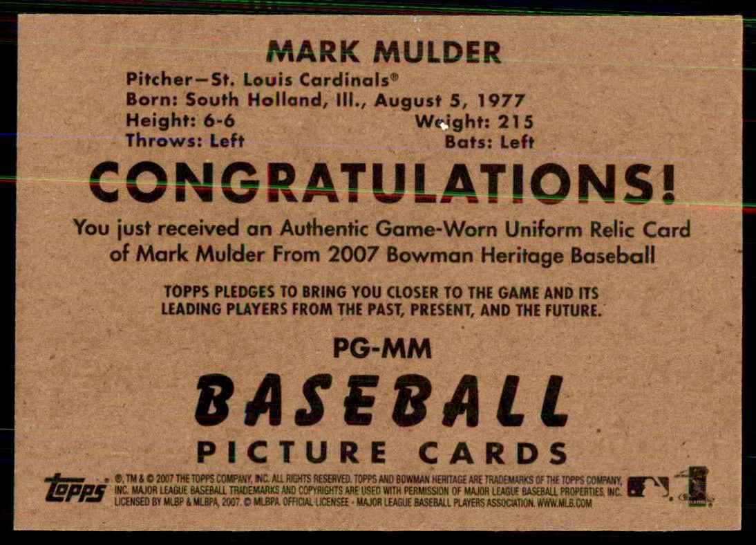 2007 Bowman Heritage Pieces Of Greatness Mark Mulder Pants E #MM card back image