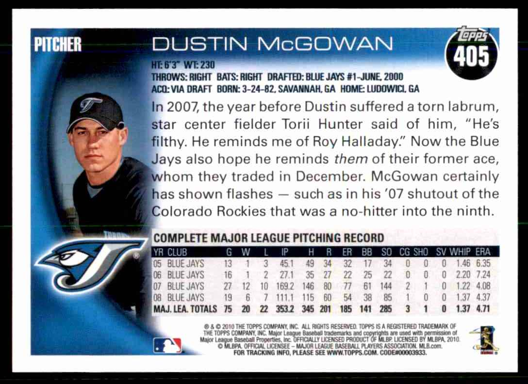 2010 Topps Dustin McGowan #405 card back image
