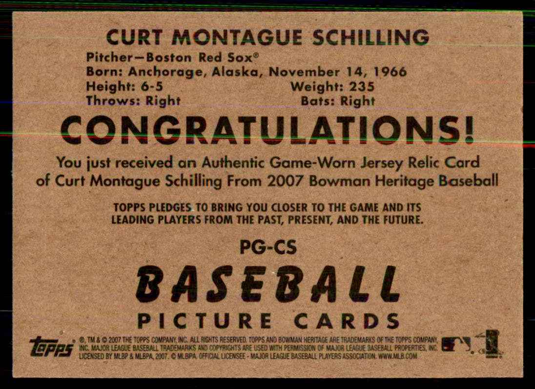 2007 Bowman Heritage Pieces Of Greatness Curt Schilling Jsy C #CS card back image