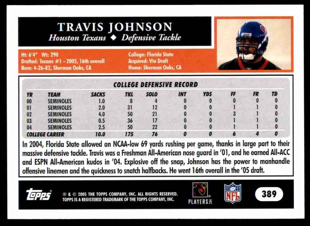 2005 Topps Travis Johnson #389 card back image