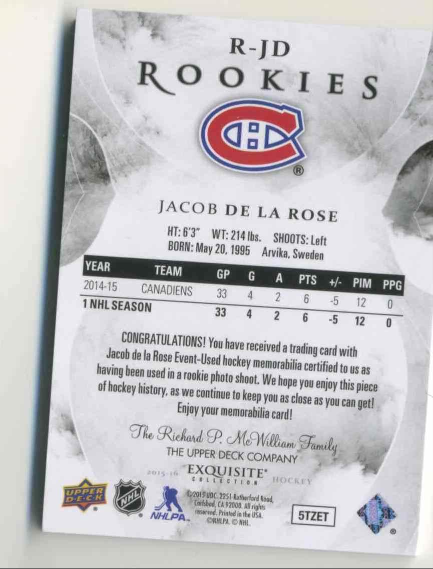 2015-16 Upper Deck Exquisite Jacob De La Rose #R-JD card back image