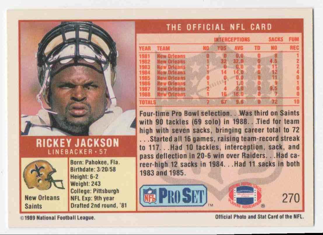 1989 Pro Set Rickey Jackson #270 card back image