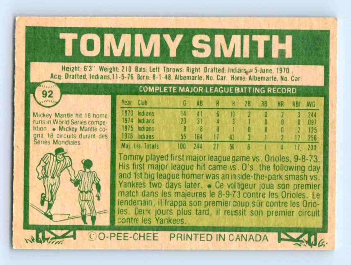 1977-O-Pee-Chee-Must-See-Condition-Tommy-Smith-92 thumbnail 2