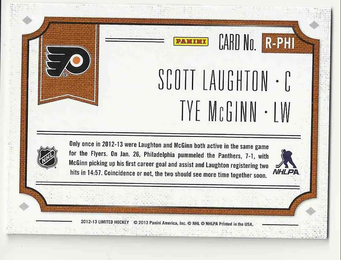2012-13 Limited Rookie Redemption Scott Laughton/Tye Mcginn #R-PHI card back image