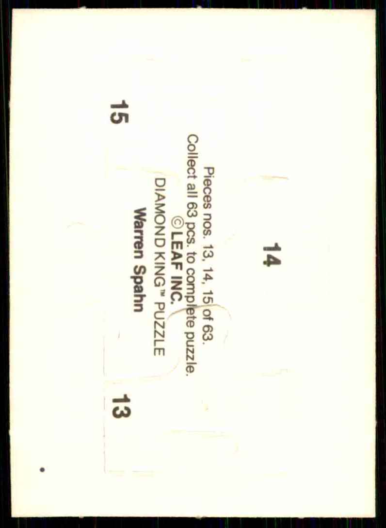 1989 Donruss Warren Spahn Puzzle Spahn Puzzle 13-15 #13 card back image