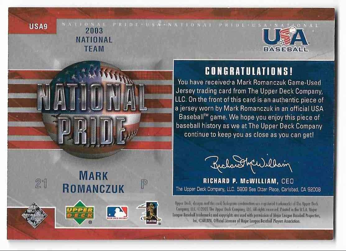 2004 Upper Deck USA Baseball Mark Romanczuk #USA9 card back image