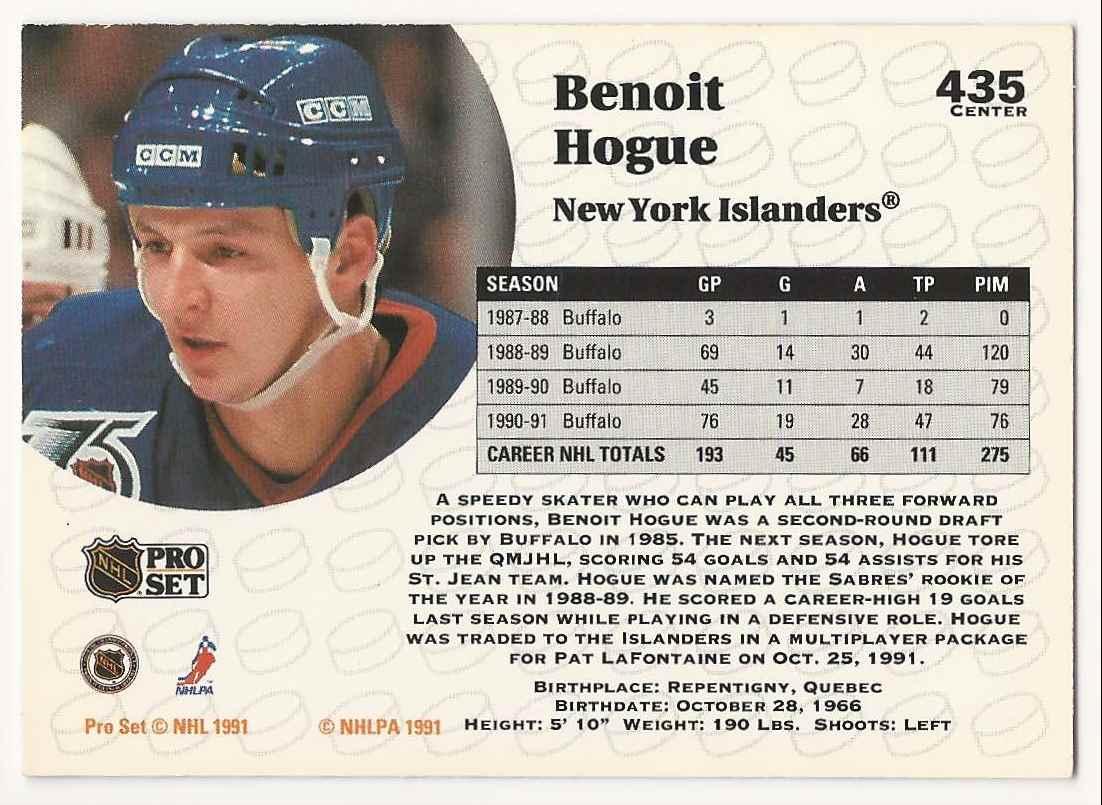 1991-92 Pro Set Benoit Hogue #435 card back image