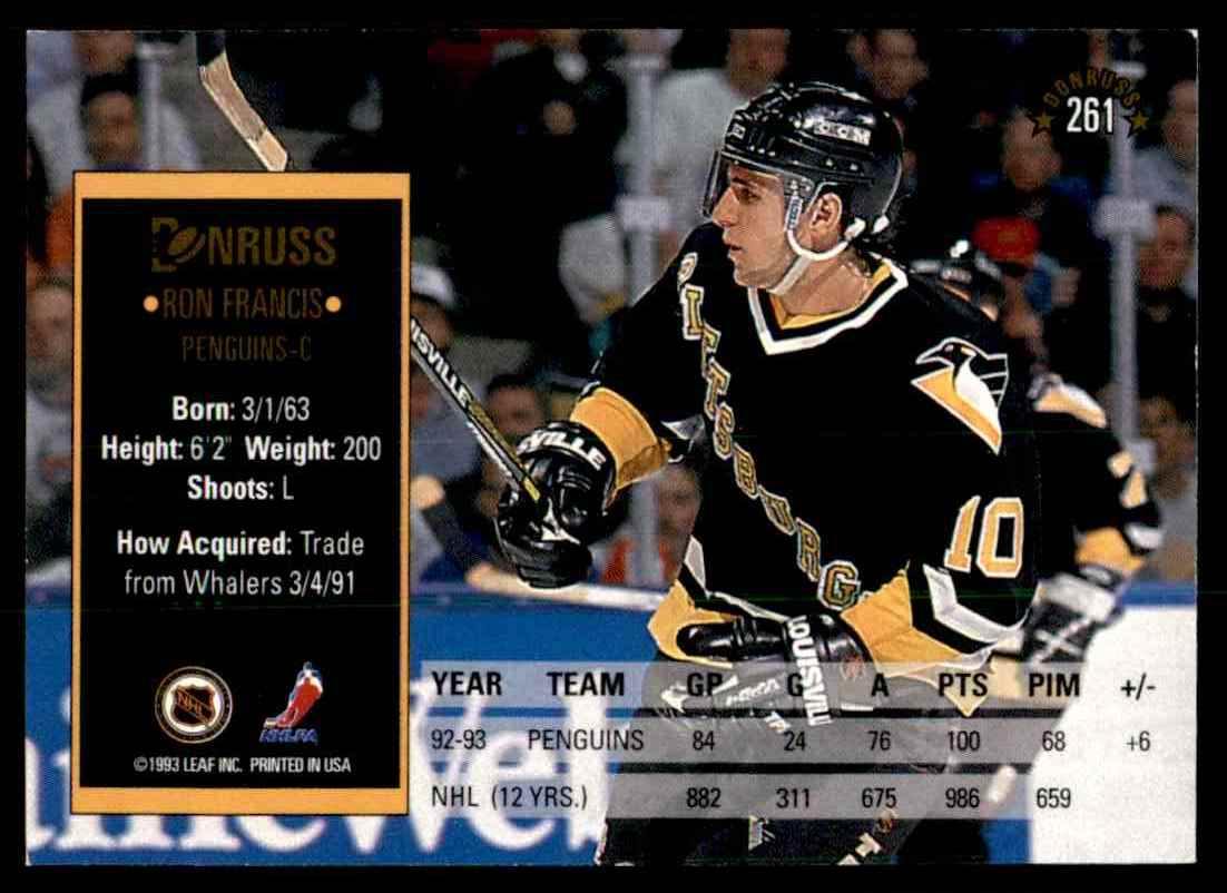 1993-94 Donruss Ron Francis #261 card back image
