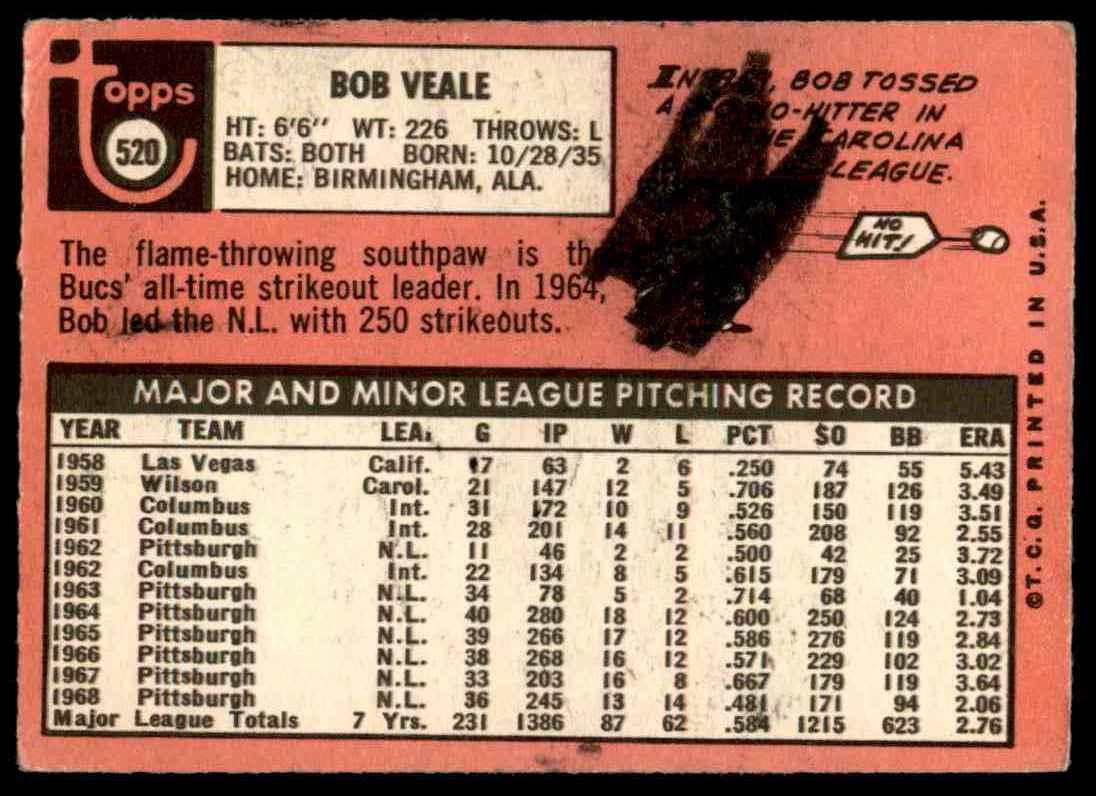 1969 Topps Bob Veale #520 card back image