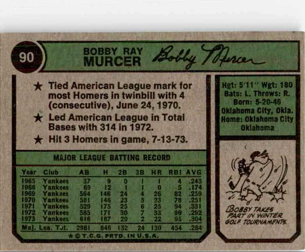 1974 Topps Bobby Murcer #90 card back image