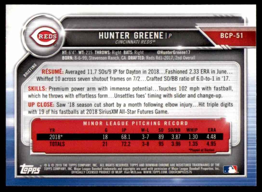 2019 Bowman Hunter Greene #BCP-51 card back image