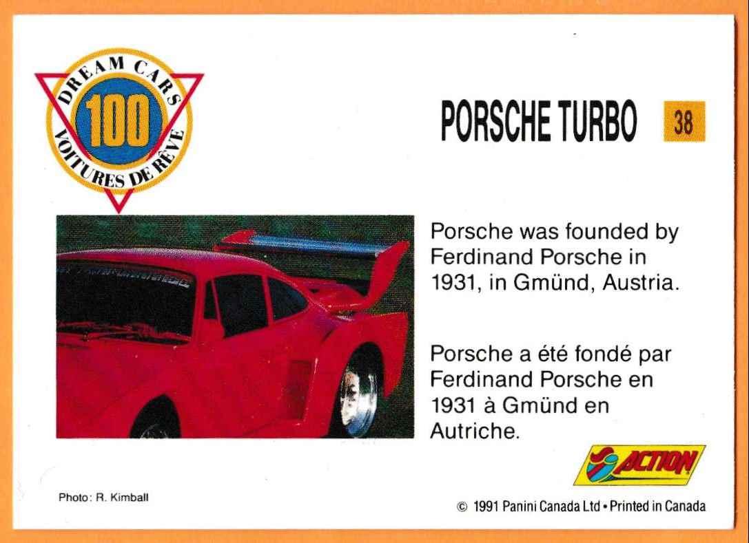 1991 Vintage Sports Cars Vintage Sports Cars Porsche Turbo #38 card back image