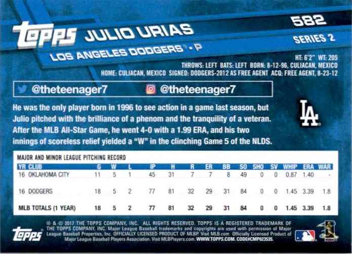 2017 Topps Series 2 Julio Urias #582 card back image