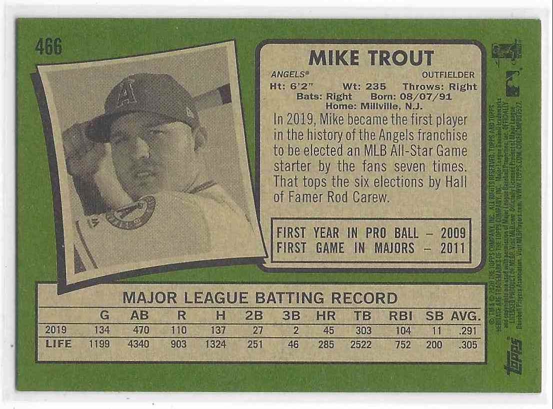 2020 Topps Heritage Mike Trout #466 card back image