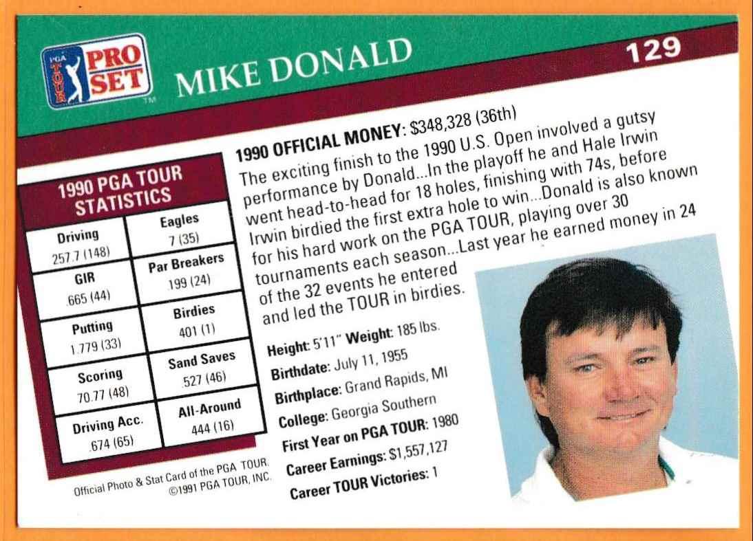 1990 Pro Set Golf 1990 PGA Tour Mike Donald #129 card back image
