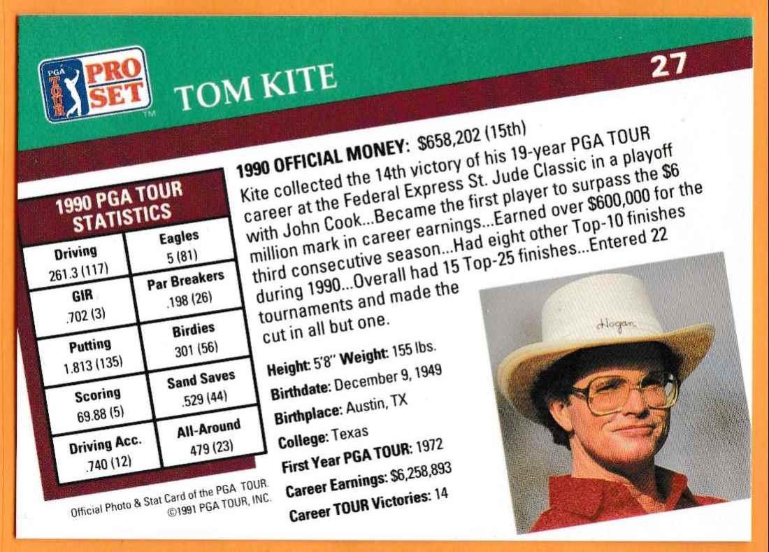 1990 Pro Set Golf 1990 PGA Tour Tom Kite #27 card back image