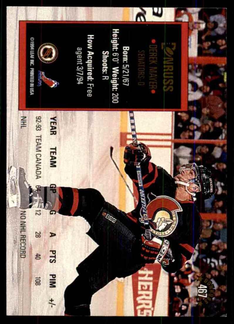 1993-94 Donruss Derek Mayer RC #467 card back image