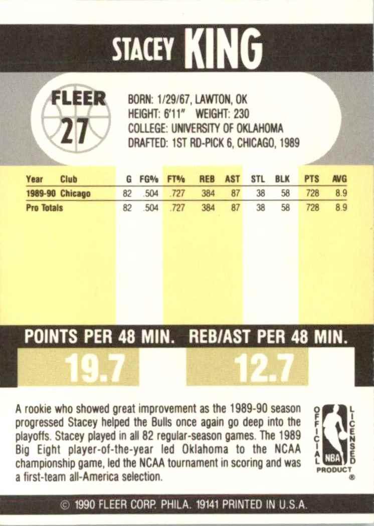 1990-91 Fleer Stacey King #27 card back image