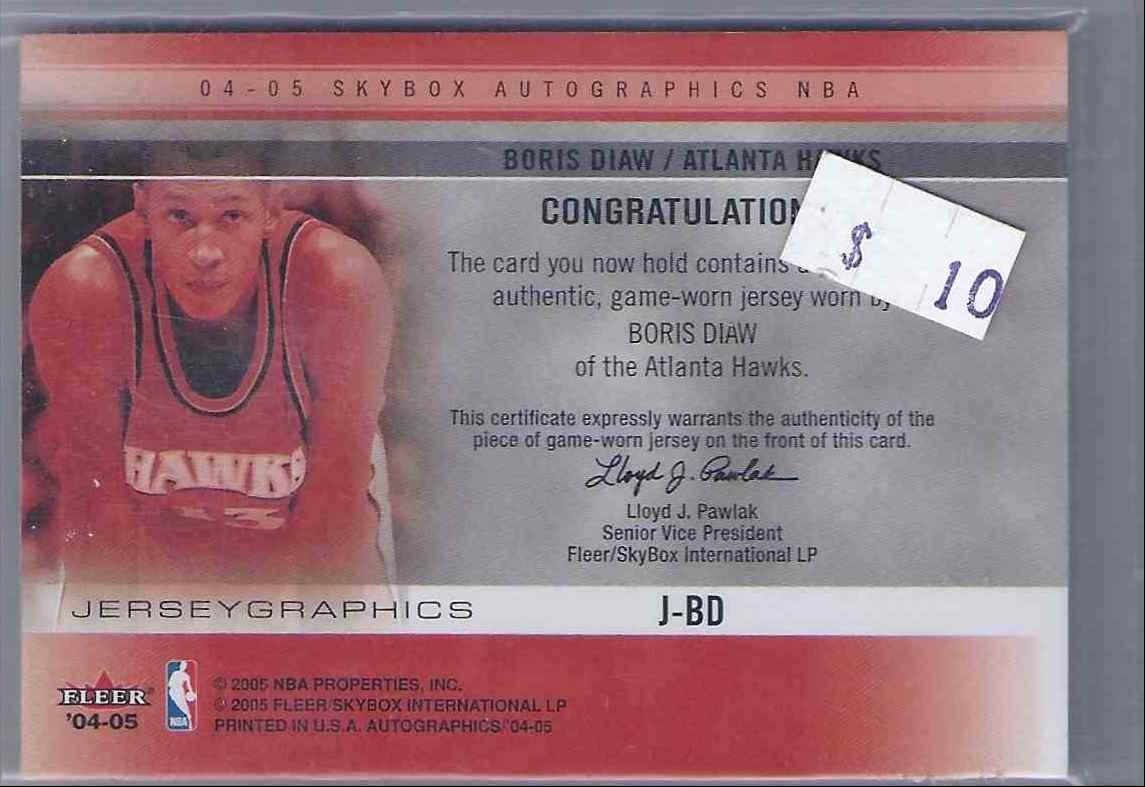 2004-05 Skybox Autographics Jerseygraphics Boris Diaw #BD card back image